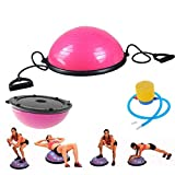 Tenozek Yoga Half Ball Exercise Trainer Fitness Strength Balance Hemisphere with Resistance Bands & Pump for Gym Office Home Pink