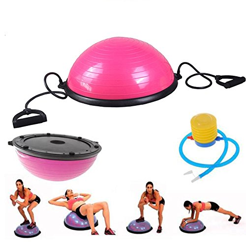 Tenozek Yoga Half Ball Exercise Trainer Fitness Strength Balance Hemisphere with Resistance Bands & Pump for Gym Office Home Pink by Tenozek