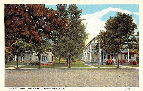 Charlevoix Michigan Hallett Hotel Annex Street View Antique Postcard K90029