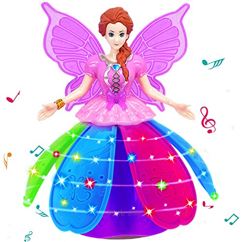 (5 Year Old Girl Princess Doll Toy Rotating Dancing Robot Toys Music Led Light Lnteractive Toys Colorful Projection Lamp Petal Skirt)