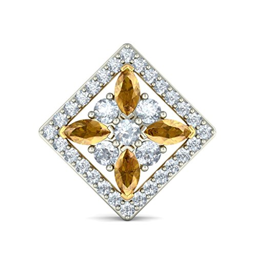 Or jaune 14 K 0,66 CT TW White-diamond (IJ | SI) et saphir Jaune Boucles d'oreille à tige