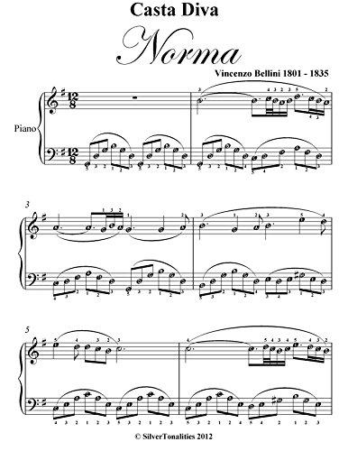 \\BETTER\\ Casta Diva Norma Bellini Easy Piano Sheet Music. DERECHOS condeno solar derechos details