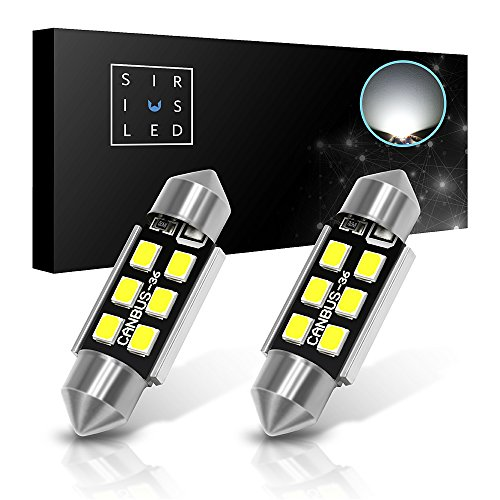 SiriusLED Super Bright 2835 Chipset Canbus Error Free LED Festoon Bulbs for Car Interior License Plate Dome Courtesy Lights 1.50 36MM Festoon 6418 C5W 6000K Xenon White Pack of 2