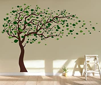 Pop Decors Removable Vinyl Art Wall Decals Mural, Tree Blowing In The Wind Part 67