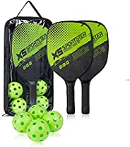 TDNE Pickleball Paddles Set -Wooden Pickleball Set with 1 Carry Bag, 4 Pickle Ball, 7-ply Basswood with Ergono