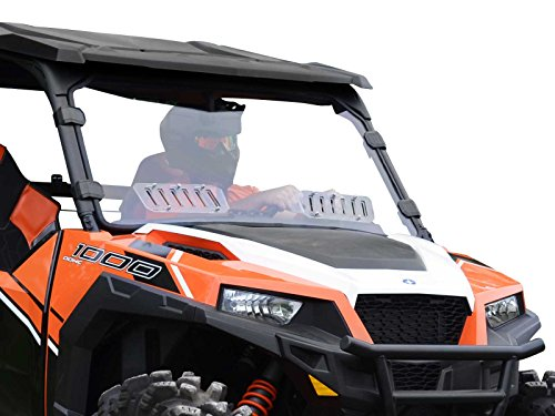 (SuperATV Scratch Resistant Vented Full Windshield for Polaris General 1000 / General 4 (2016+) - Hard Coated for Long Life and Extreme Durability - Installs in 5)
