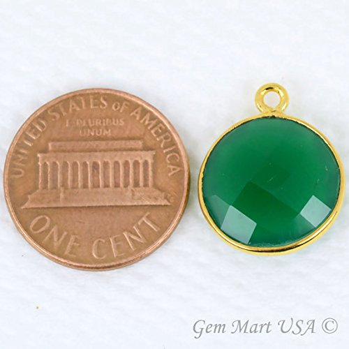 Green Onyx Bezel Connector, 14mm Round Shape 24k Gold Plated Single bail by GemMartUSA Anniversary Green Pendant