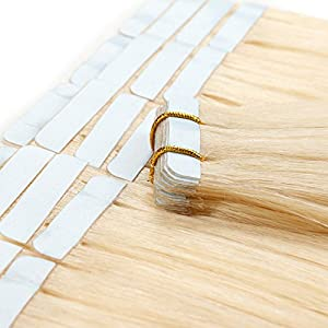 Tape in Hair Extensions Human Hair 20 inch 50g/pack 20pcs Seamless Skin Weft Remy Straight Hair (#613) Blonde