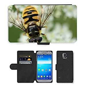 PU LEATHER case coque housse smartphone Flip bag Cover protection // M00116012 Abeja Insecto Naturaleza Macro // Samsung Galaxy S5 S V SV i9600 (Not Fits S5 ACTIVE)