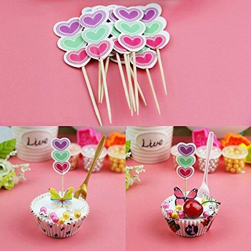 Bluelover 12Pcs/Pack Cake Topper Compleanno Partito Cupcake Food Picks Toppers Tortadecorazione Cuore di Carta Prezzi