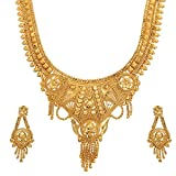 Mansiyaorange One Gram Gold Original Real Look Party Wedding Wear Golden Necklace Sets For women(9.5 INCH LONG)