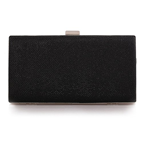 Womens Vintage Envelope Clutch Black Evening Handbag For Cocktail/Wedding/Party (Black) - Evening Hard Clutch Purse Handbag