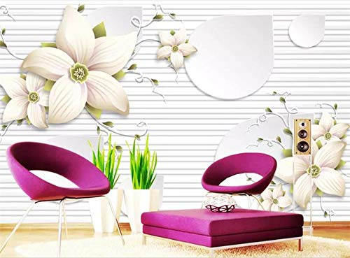 (Whian 3D Wallpaper Mural Living Room Bedroom Decoration Wall Decal Blooming Gem Flower Picture Wall Sticker 300Cmx240Cm|118.11(in))