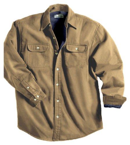 Tahoe Denim Shirt Jacket with Fleece Lining, Color: Dark Khaki/Ocean Blue, Size: Medium (Wholesale Denim Jackets)