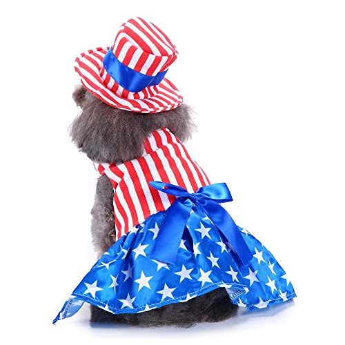 Queenmore Halloween Pet Dog Costumes, American Flag Style Dress Daily Dress Christmas Dog Costumes