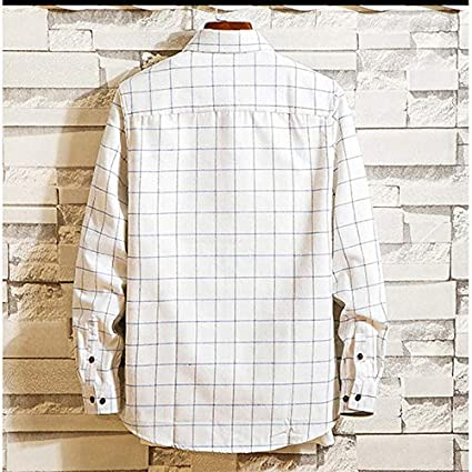 IYFBXl Mens Basic Shirt Check Patchwork