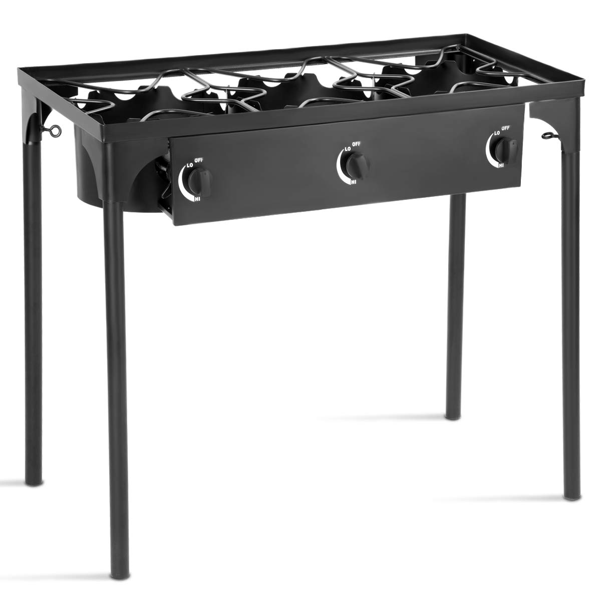 Goplus Outdoor Camp Stove High Pressure Propane Gas Cooker Portable Cast Iron Patio Cooking Burner w/Detachable Legs Great for Camping, Patio, or RV (3-Burner 225,000-BTU)