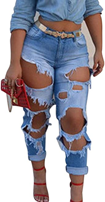 Kasen Mujeres Flojos Pantalones Jeans Skinny Flacos Vaqueros Denim Pantalones Azul Claro 2xl Amazon Es Ropa Y Accesorios