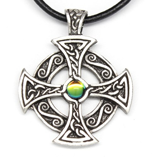 - Pewter Solar Cross Pendant w/ Rainbow Austrian Crystal on Leather Necklace
