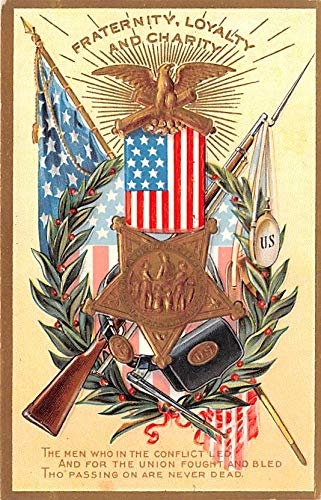 Patriotic Post Card Old Vintage Antique Postcard Fraternity, Loyalty, and Charity, Decoration Day Series Unused