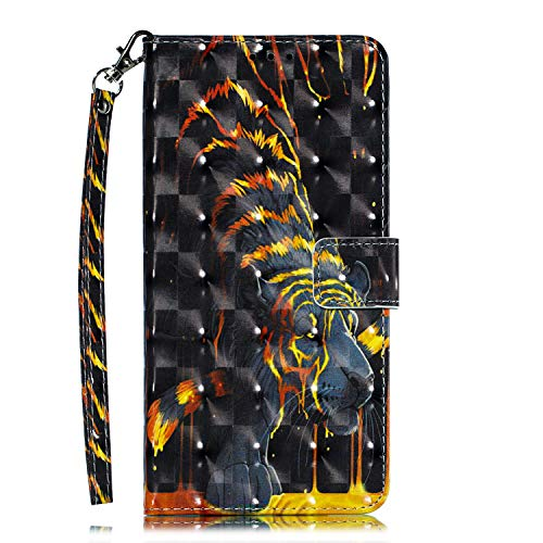 Galaxy S9 - Case, for [S9], MerKuyom [Kickstand] Premium PU Leather Wallet Pouch [Card Holder] Protective Flip Cover Skin Case Holster for Samsung Galaxy S9 (Cool Black Yellow Tiger)