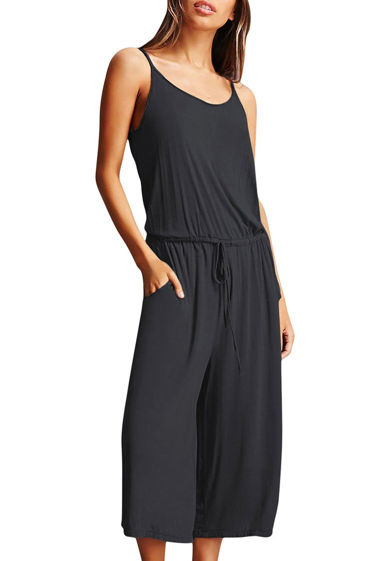c028987a602 Fixmatti Women Loose Fit Halter Backless Waisted Capri Wide Leg Romper  Jumpsuit product image