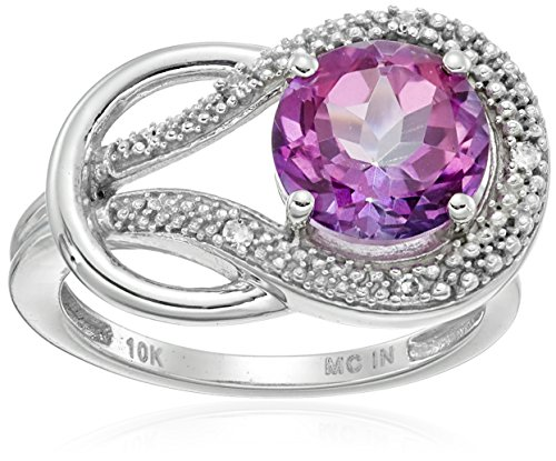 Pink Topaz and Diamond Accent Love Knot Ring in 10k White Gold, Size ()