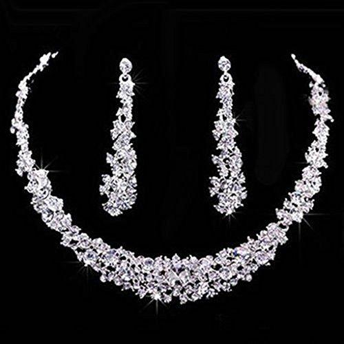 Trendy Wedding Bridal Prom Rhinestone Crystal Necklace Earrings Jewelry (Rhinestone Wedding Crystal Necklace Earrings)