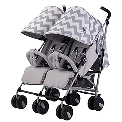 Mi Babiie MB22 Billie Faiers Chevron doble silla de paseo, color gris
