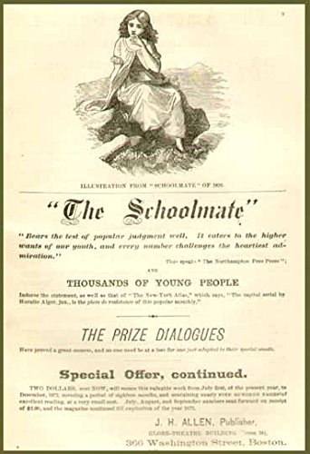 (Rare 1871 AD for The Schoolmate Young Folks Magazine Original Paper Ephemera Authentic Vintage Print Magazine)