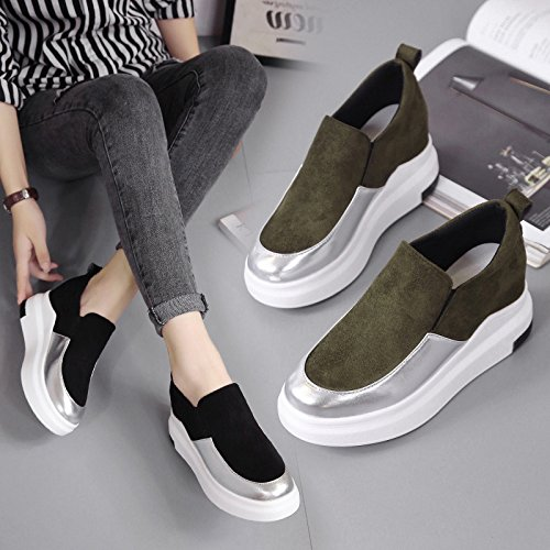 Walking Height Cozy Black Casual Shoes RESPEEDIME Increased Female Women's Flat Shoes Eqw0BXOZ