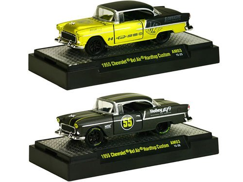 Auto Mods 1955 Chevrolet Bel Air 2 Door Hardtop, 2 Cars Set WITH CASES 1/64 by M2 Machines 32600-AM03