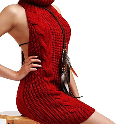 Myobe Women's Sexy Turtle-Neck Tied Pullover Jumper Cosplay Sweater Sleeveless Backless Knit Tank Top Vest (S, Wine Red) (Virgin Wool Sweater)