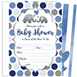25 Blue Elephant Boy Baby Shower Invitations (5x7 inch) with Envelopes