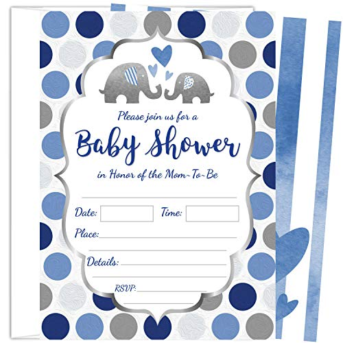 ZOLCO Prints 25 Blue Elephant Boy Baby Shower Invitations (5x7 Inch) with Envelopes -