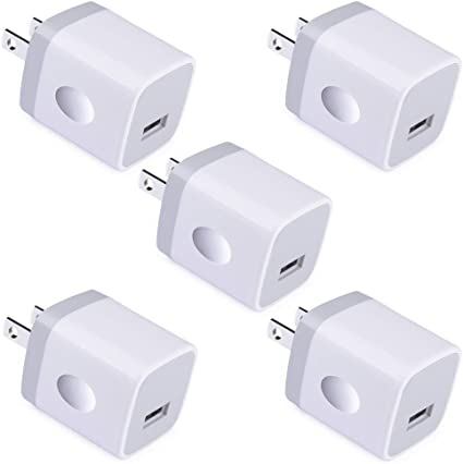 Single USB Port Wall Charger, UorMe 1A/5V Wall Charger Plug USB Power Adapter 5 Pack for Phone X/8/7/6S/6S Plus/6 Plus/6/5S/5,Samsung Galaxy S9/S8/S7 ...