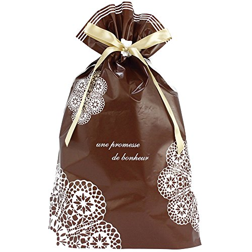 TAKA Drawstring Gift Bag Lace Design 10 bags, Brown W 12.2 in x D 3.14 in x H 18.9 in