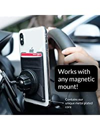 Cartera 3 en 1 para cualquier funda de teléfono   Único: Spandex + Monturas a imanes + Doble bolsillo + Correa de dedo + Bloque RFID - Fuerte adhesivo 3M + magnético, Paquete de 1