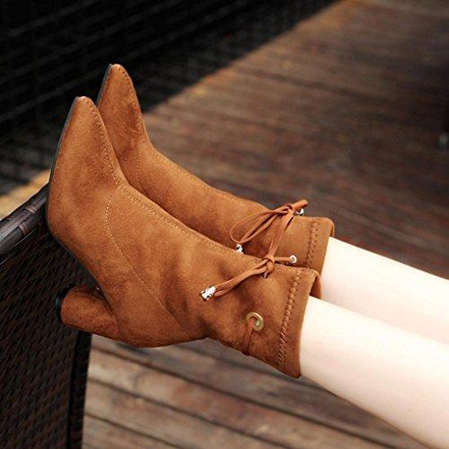Stiefel damen Kolylong® Frauen Elegant Stiefel Kurz Herbst Winter Warm Stiefeletten mit absatz Vintage Martin Stiefel Schnee Schuhe Freizeit Winterschuhe Kaffee