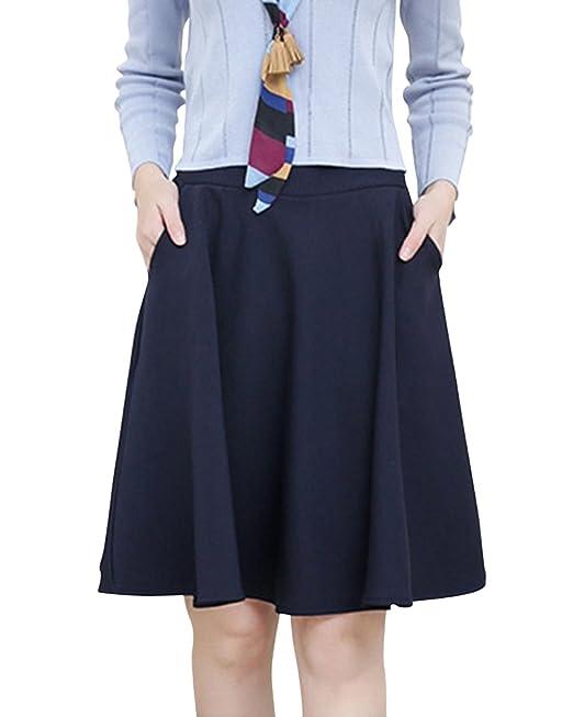 Falda Ala Rodilla Vintage Mujer Alta Cintura Del Tallas Grandes Plisada Bolsillos Laterales Armada 2XL