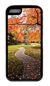 Customized Case Red Maples Road TPU Black for Apple iPhone 5C