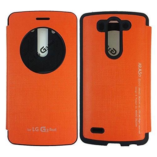 on sale 7e9cc 9af8b LG G3 Vigor Case,[Orange] [Quick Circle View] Bumper Case PU Leather ...