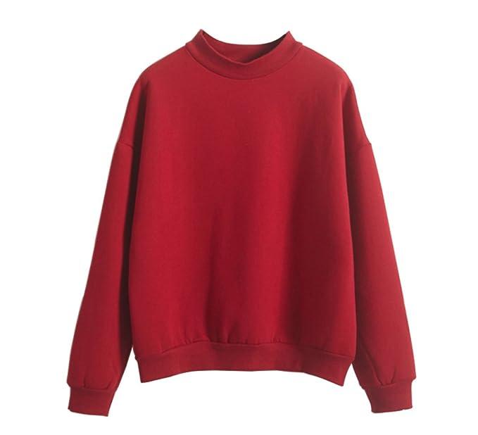 LifeWheel Moda Harajuku Estilo Mujeres Loose Fleece Sudadera Pullover Sudaderas con Capucha Blusa Tops Rojo Rosso
