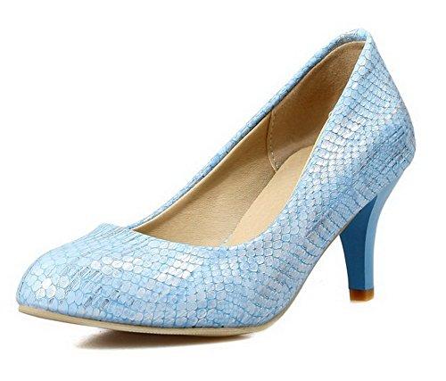 VogueZone009 Damen Spitz Zehe Ziehen auf PU Leder Rein Mittler Absatz Pumps Schuhe Blau