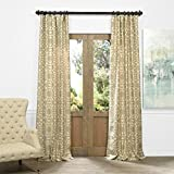 Cheap HPD HALF PRICE DRAPES JQCH-AR108213-84 Faux Silk Jacquard Curtain, Trace Natural, 50″ x 84″