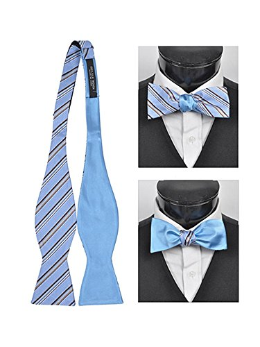 Men's Blue 100% Silk Woven Freestyle and Reversible Bow Tie FRBS1060 ()