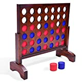 GoSports Giant Dark Wood Stain 4 in a Row Game - 2 Foot Width - Huge 4 Connect Family Fun with Coins, Case and Rules