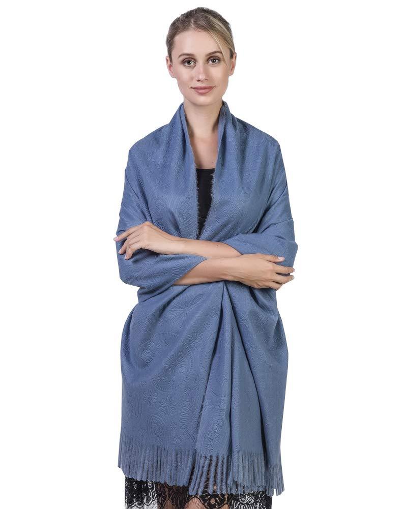 Niaiwei Cashmere Scarf Blanket Large Soft Pashmina Shawl Wrap For Men and Women (Jacquard Jean Blue)