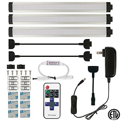 AIBOO Under Cabinet Lighting LED Rigid Bar Lights Wireless RF Remote Controller Plug In Closet Kitchen Lighting