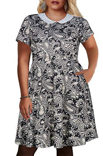 Nemidor Women's Peter Pan Collar Fit and Flare Plus Size Skater Party Dress (Cashew Flower, 22W) -